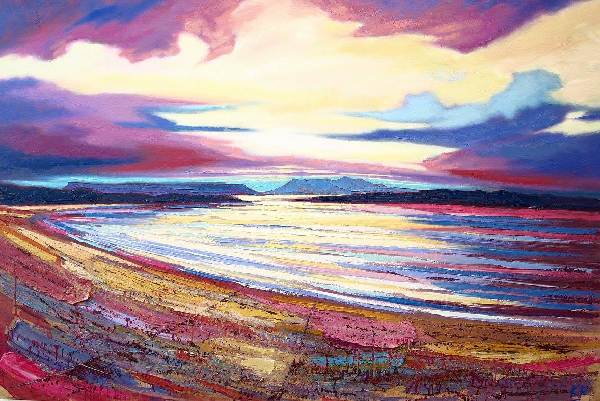 Rhum sunset Oil on canvas 152 x 102 cm 2017 £3950.00