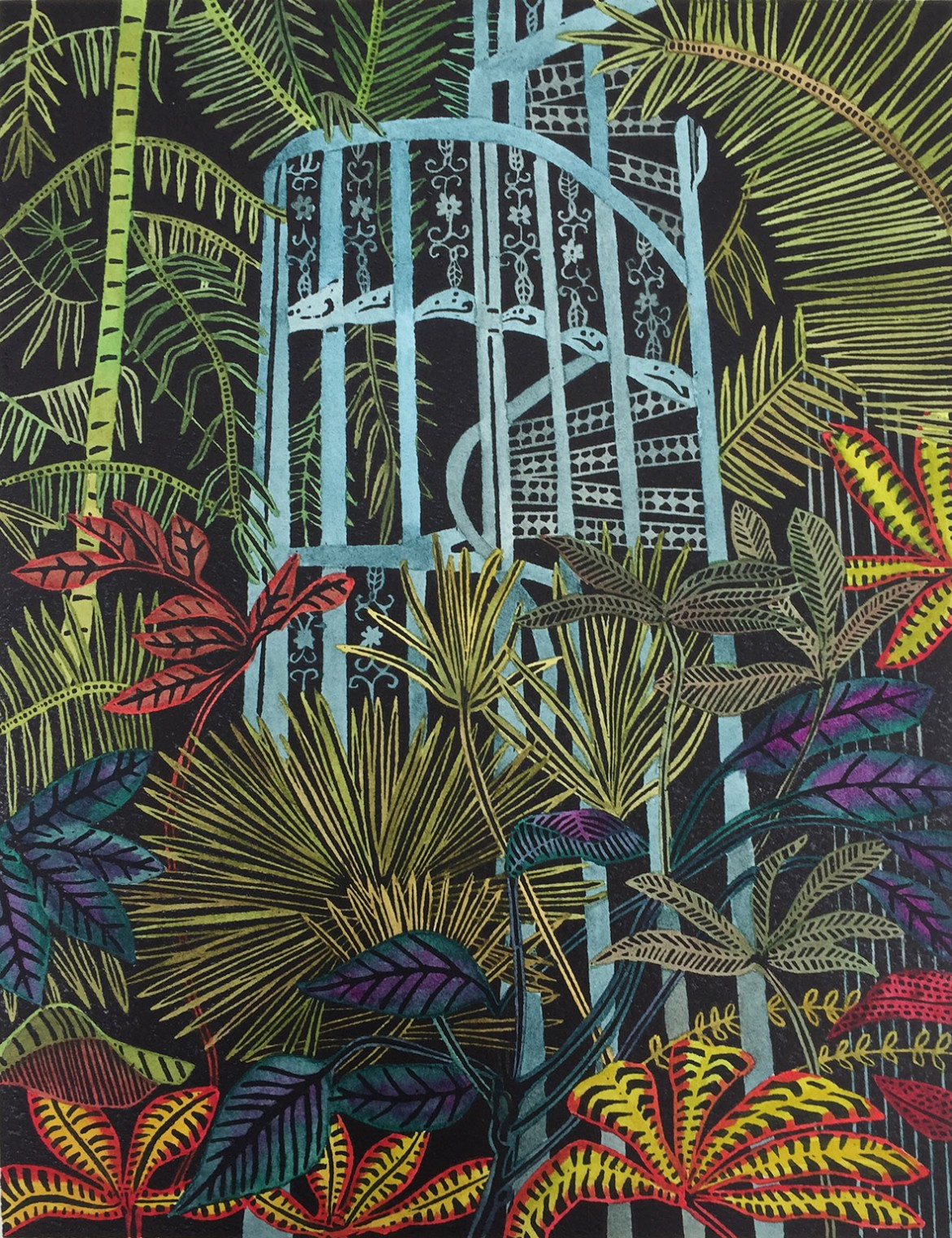 H A TAYLOR Greenhouse Earth woodcut 2 53 x 40