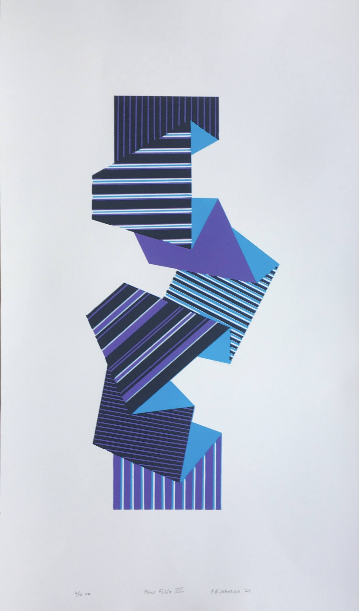 Johnson fauxfoldsIII reductionlinocut 37 x 62