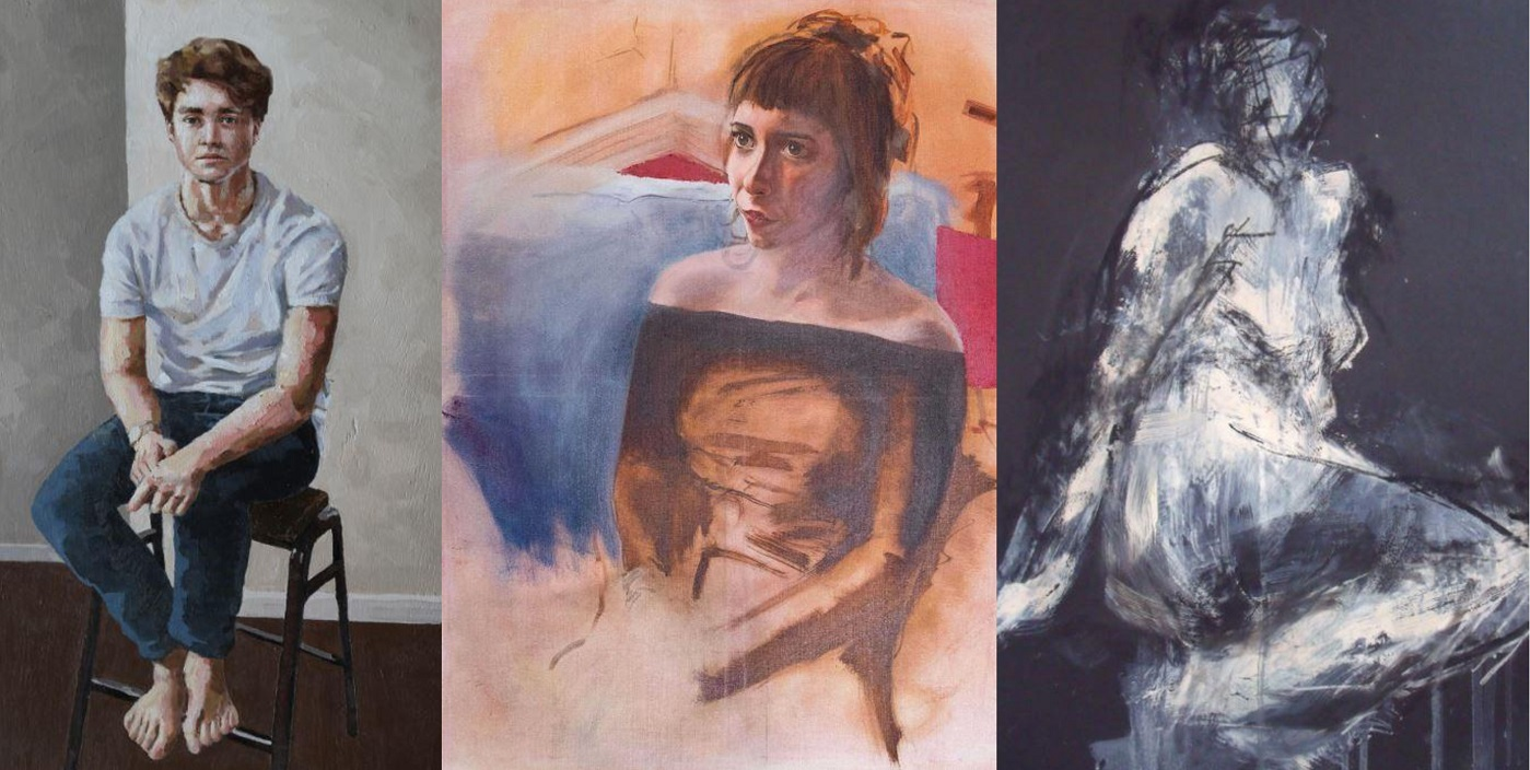 Image credits, left to right: Self Portrait by Patrick Thomas of Truro School, Laura by Will Copley of The King's School, Ottery St Mary, Seated Figure by Jacqueline Zhang of Farlington School.